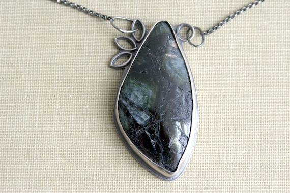 Green Tourmaline Oxidized Sterling Silver Necklace- Seek