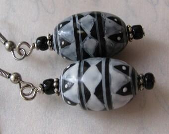 Southwestern American Indian painted bead earrings