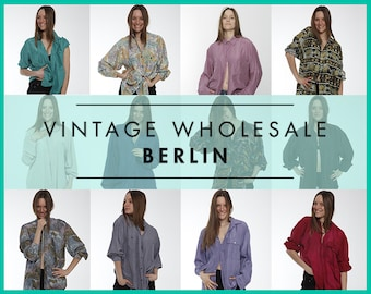 Please contact us before you order !  Vintage SILK SHIRTS long sleeve MIXED lot x 10 items, wholesale, 80s, 90s, festival, button-up