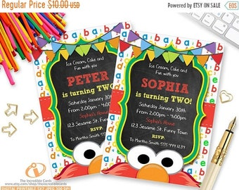 ON SALE Elmo Invitation, Sesame Street Invitation, Chalkboard, Sesame Street, Second Birthday, 2nd Birthday, Printable Invitation