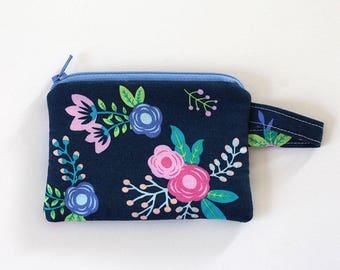 Small zipper pouch, pocket wallet, Change purse, cash wallet, earbud pouch, business card holder, keychain wallet, id holder Navy Blue purse