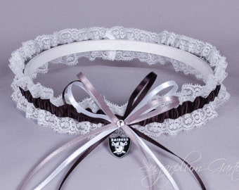 Oakland Raiders Lace Wedding Garter - Ready to Ship
