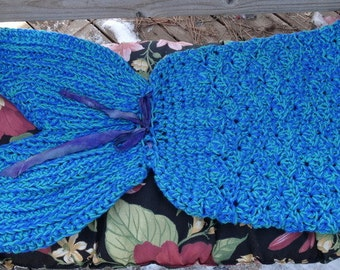 ON SALE Ready to Ship Toddler size Hand Crocheted Mermaid Blanket Wrap Cozy and Warm