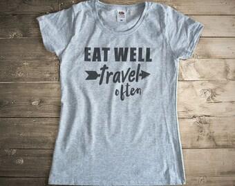 Eat well travel often T-shirt-cool tees-shirt-women shirt-men shirt,graphic tees-wanderlust t-shirt-gift for travelers-NATURA PICTA-NPTS002
