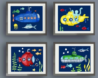 submarine art, submarine art prints, children wall art decor, baby boy nursery wall art, submarine kids wall art