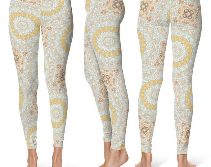 Ladies Leggings Yoga Pants, Spring Mandala Printed Yoga Tights for Women