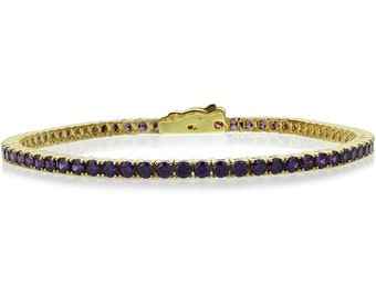 2.5mm 14K Yellow Gold 3.6 ct Simulated Amethyst Cubic CZ Tennis Bracelet 7.25in(CLB013RD25YG-AM)
