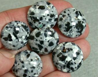 Vintage ACRYLIC NOS CABOCHONS  Black Grey White Granite Appearance 20mm pkg8 res413