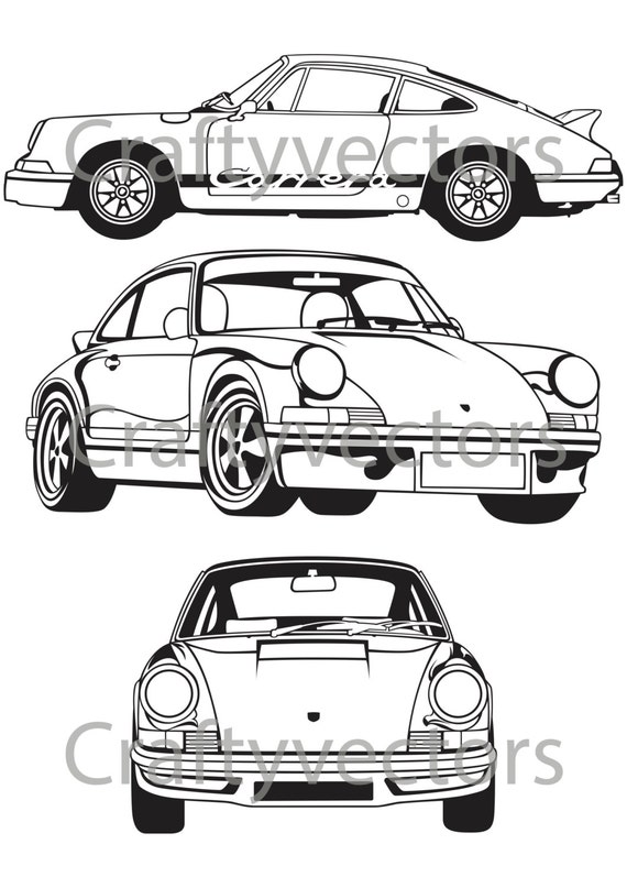 Porsche 911 Carrera RS vector SVG cut file