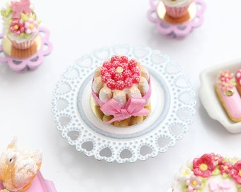 MTO-Miniature Raspberry Charlotte Dessert Decorated with Pink Silk Ribbon - Miniature Food for Dollhouse 12th scale