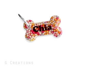 Cute Small Bone Dog Tag Rainbow Sprinkles - Personalized - Mini Small Size - Custom Handmade Dog Pet ID - Cute Resin Dog Collar Accessory