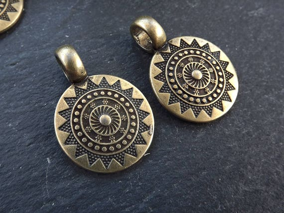 2 Small Ethnic Sun Mandala Pendant Round Disc With Side Facing Bail Zen Yoga Pendant Boho Jewelry   Antique Bronze Plated by Etsy