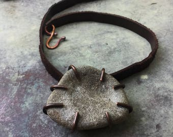 Natural stone and leather necklace | copper and stone, natural jewelry, beach jewelry, natural pendant, stone necklace, stone pendant