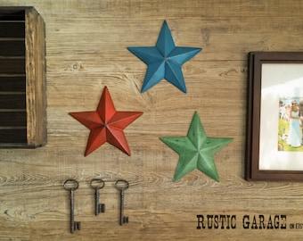 "SET OF 3 - Cast Iron Texas Stars - Handpainted Metal Wall Hangings - 7.5"" Metal Star Wall Decor - Patriotic Nautical Rustic Country Decor"