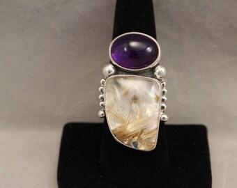 Amethyst/Rutilated Ring