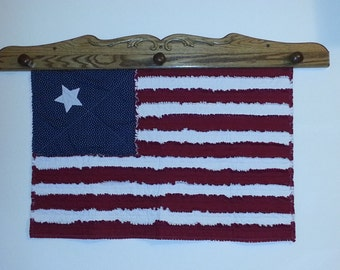 Rag Quilted American Flag Wall Hanging