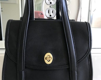 Coach Vintage Belmont Black Leather Double Handled Handbag