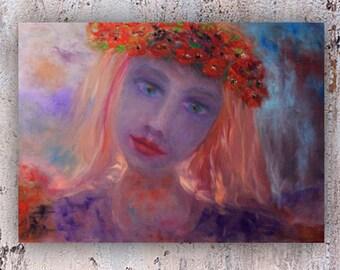 mermaid art purple folk girl modern home decor flower wreath dark OOAK wall gift men spirit companion original oil painting on canvas й8