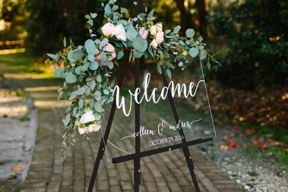 Wedding welcome sign wedding signs acrylic wedding sign junglespirit Choice Image