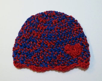 CHD Awareness Red and Blue Heart Hat