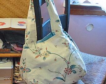 Soft CREWEL FLOWER Polished Cotton PURSE, Spring Daffodils Roses Forsythia on Cream, Sturdy Shoulder Bag, Pocket Full Lining 19 x 10