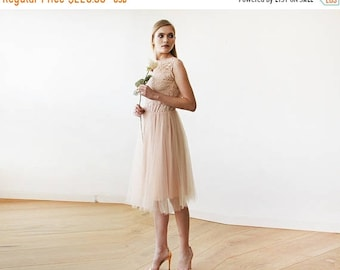 Pink Tulle and Lace Sleeveless Short Dress , Pink Backless Party Dress With Tulle 1159