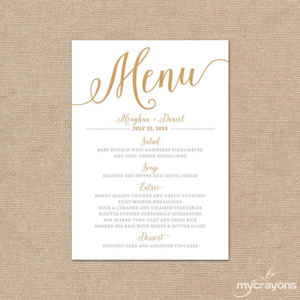 Gold wedding menu card printable wedding menu bella script zoom junglespirit Gallery
