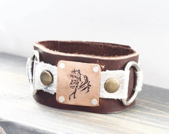 Leather Horse Bracelet  - Horse Birthday Gift Ideas - Western Bracelet for Horse Lover - Western Horse Riding Gift Ideas - Country Girl Gift