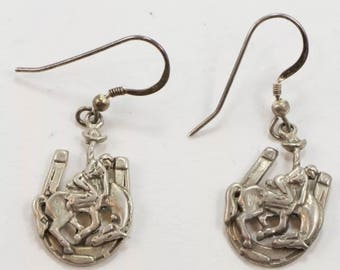 Vintage horse shoe bronc riding earrings sterling silver