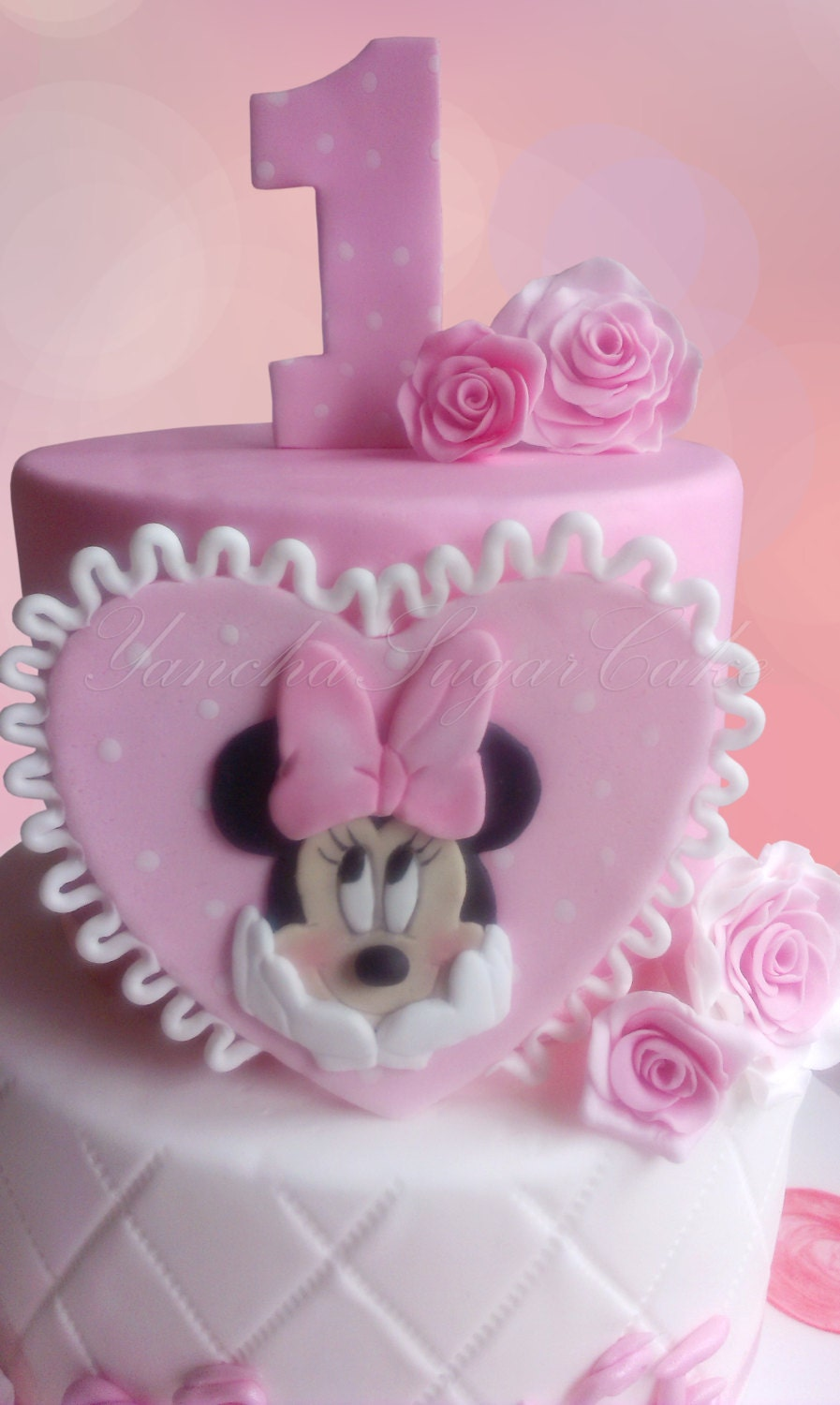 baby minnie mouse cake minnie mouse fondant edible 2d cake topper baby shower 1430