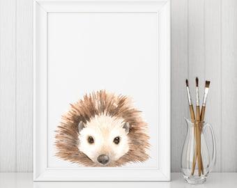 Hedgehog Nursery Wall Art Woodland Nursery Decor Nursery Prints Nursery Art