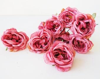 "10 Mini Roses Artificial Silk Flowers Pink Rose measuring 3"" Floral Hair Accessories Flower Supplies Faux Fake DIY Wedding"