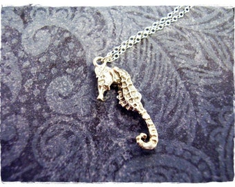 Tiny Seahorse Necklace -  Sterling Silver Seahorse Charm on a Delicate Sterling Silver Cable Chain or Charm Only