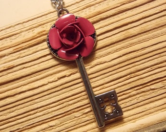 Pink and Silver Rose Key Necklace