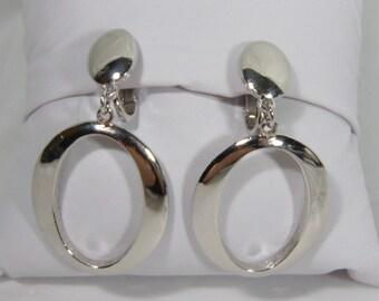 Trifari Silvertone Oval Dangle Clip On Earrings