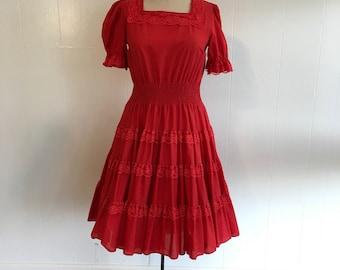 Western Squaredance Red Lace Lolita 60s Dress Sz S/M