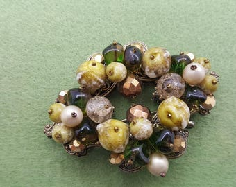 Haskell like Beaded  Glass Brooch Mint condition Olive and Emerald  Green Fine Detail Pin Victorian