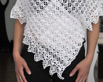 White convertible shawl in cotton