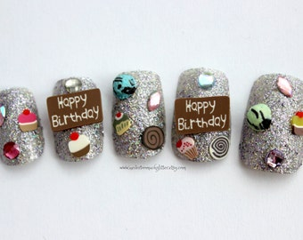 Birthday Fake Nails  | Unique Birthday Gift for Her | Silver Glitter Birthday Press On Nails | 3D Japanese Style Birthday Nails