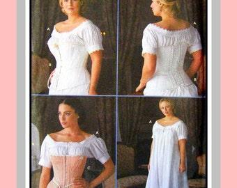 Authentic Civil War-Costume SEWING PATTERN-Victorian -Boned -Lace-Up -Lace Trimmed -Corsets -Chemise-Designer Size 6-12- Uncut-Rare