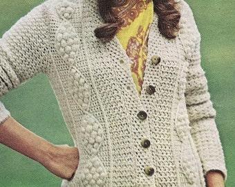 Crochet Pattern - Download PDF Women's Aran Fisherman Cardigan/Jacket/Coat