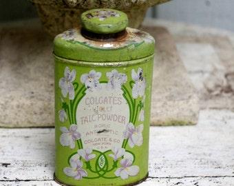 Vintage Colgate Talc Powder Tin Violets