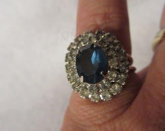 Vintage Silver Rhinestone and Blue  Setting Adjustable Ring