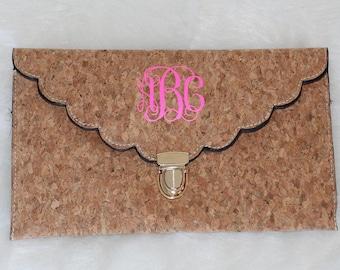 Pink Monogram Cork Clutch