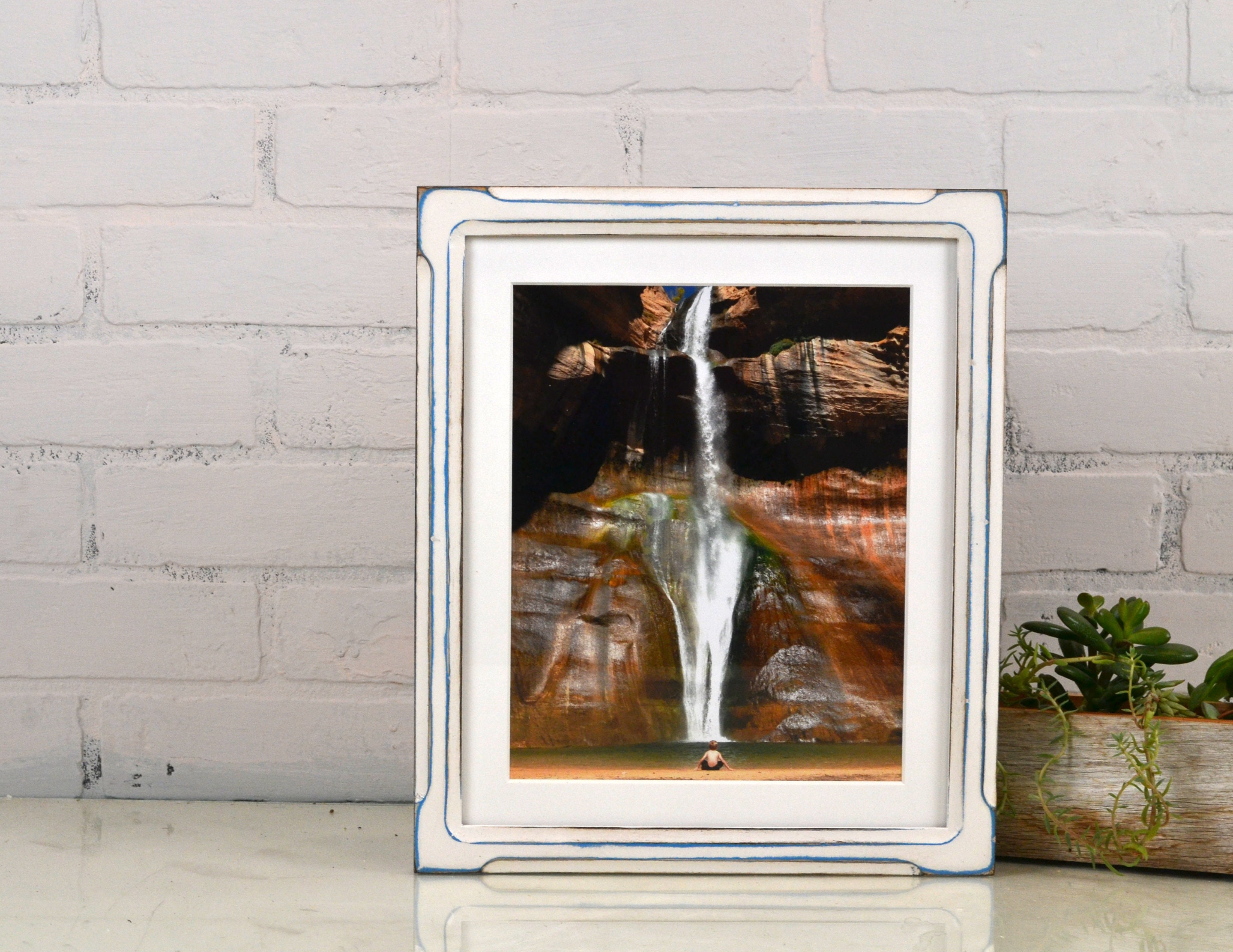 10x12 Picture Frame in Shallow Bones Style with Vintage Blue under ...