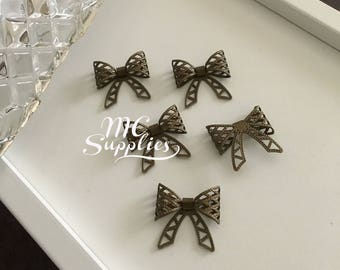 5 pcs,bowknot,metal bowknot,antique bronze bowknot,DIY bowknot,findings,hair findings.