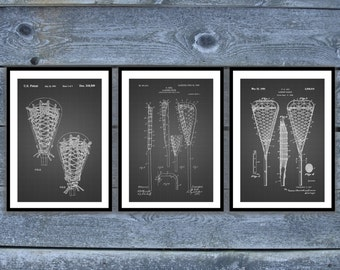 Lacrosse Poster - 3 PACK,  Lacrosse Patent, Lacrosse Prints, Lacrosse Gifts, Lacrosse Art, Lacrosse Wall Decor, Lacrosse Wall Art