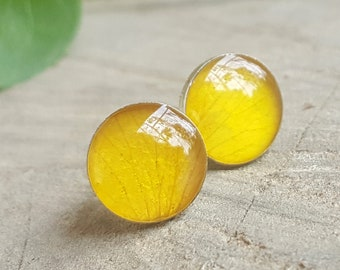 Real Yellow Rose Petal Stud Earrings - Real Flower Earrings  - Nature Jewelry - Real Flower Jewelry