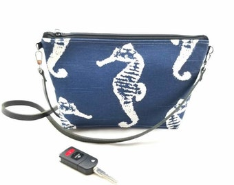 Navy Seahorse Bag - Crossbody Purse -leather strap -Ready to Ship