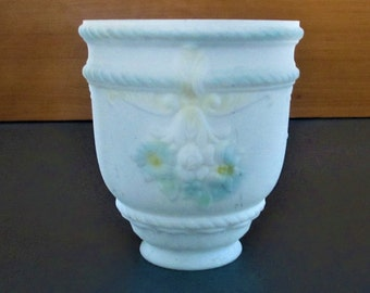 Glass Light Lamp Shade White Frosted Raised Design Painted Blue Flowers vintage